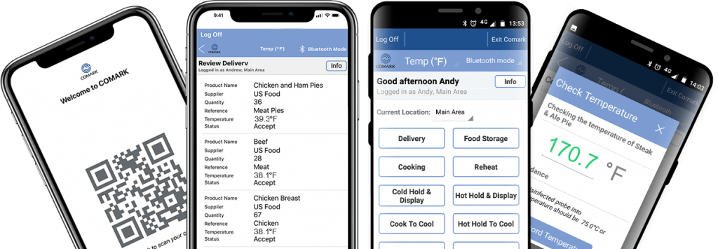 Comark Kitchen Checks App on Various Smartphones