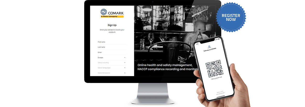 Comark Kitchen Checks - Sign Up Screen and Phone with QR Code
