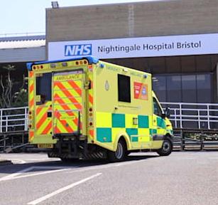 NHS Nightingale Hospital Bristol - Ambulance At Front of Building